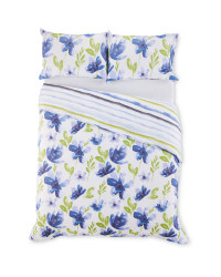 King Indigo Floral Duvet Set