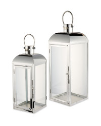 Kirkton House Chrome Lantern 2 Pack