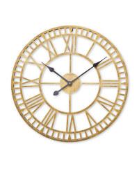 Kirkton House Metal Skeleton Clock - Antique Gold
