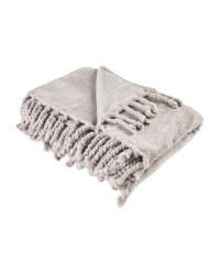 Kirkton House Tassel Supersoft Throw - Grey