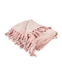 Kirkton House Tassel Supersoft Throw - Pink