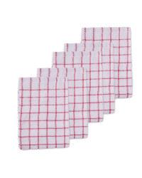Kirkton House Terry Tea Towel 5 Pack - Red
