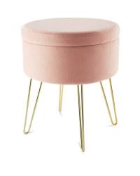 Kirkton House Velvet Stool - Pink
