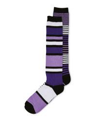 Knee Length Riding Socks 2 Pack - Purple
