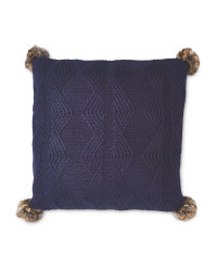 Knitted Pom Pom Cushion - Navy