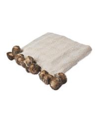 Knitted Pom Pom Throw - Cream