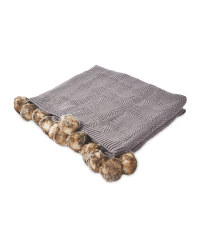 Knitted Pom Pom Throw - Grey