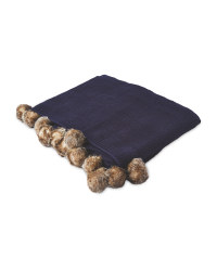 Knitted Pom Pom Throw - Navy
