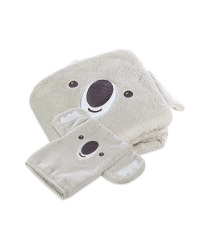 Koala Hooded Baby Towel & Mitt