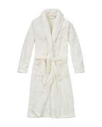 Ladies' Plush Bathrobe - White