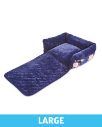 Large Floral Roll Down Pet Bed - Navy