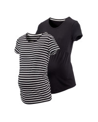 Ladies' Black Maternity T-shirt 2 Pk