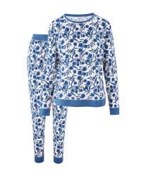 Ladies' Blue Flower Print Pyjamas