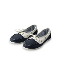 Ladies' Boat Shoes - Navy & White