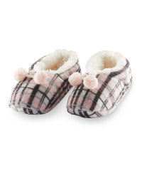 Ladies' Check Slipper Socks - Pink/Grey