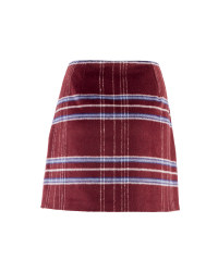 Ladies' Checked Skirt - Burgundy