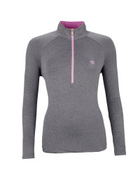 Ladies' Zip-Neck Top - Grey