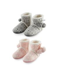 Ladies' Fairisle Boot Slippers