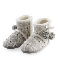 Ladies' Fairisle Boot Slippers - Grey