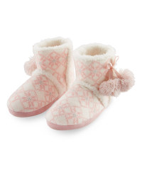 Ladies' Fairisle Boot Slippers - Pink