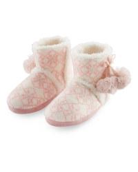 Ladies' Fairisle Boot Slippers - Pink
