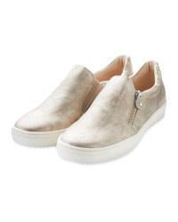 Ladies Gold Comfort Slip On Shoes