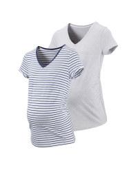 Ladies' Grey Maternity T-shirt 2 Pk