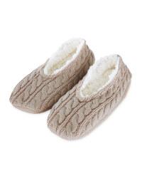 Ladies' Knitted Slipper Sock - Oat