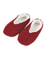 Ladies' Knitted Slipper Sock - Red
