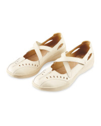 Avenue Ladies' Leather Shoes - Cream