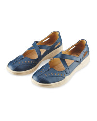 Avenue Ladies' Leather Shoes - Navy