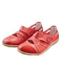 Ladies' Leather Strap Shoes - Red
