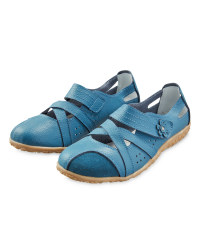 Ladies' Leather Strap Shoes - Teal