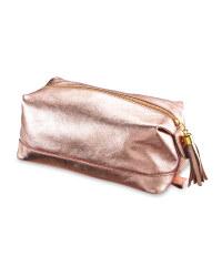 Avenue Ladies' Leather Washbag - Rose Gold