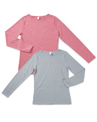 Ladies' Long-Sleeved Top - Berry & Grey