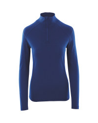 Crane Ladies' Merino Quarter Zip Top - Blue