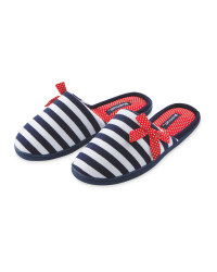 Ladies' Nautical Stripe Slippers
