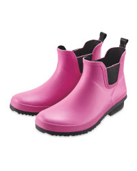 Ladies' Pink Ankle Wellingtons