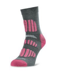 Crane Ladies' Outdoor Socks - Grey/Pink