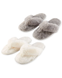 Ladies' Plush Toe Post Slippers