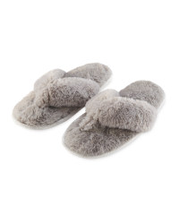 Ladies' Plush Toe Post Slippers - Grey