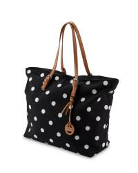 Ladies' Polka Dot Canvas Travel Bag
