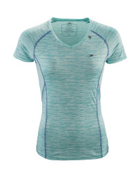 Ladies' Printed Aqua Running T-Shirt