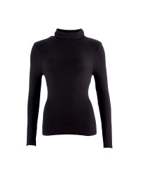 Ladies' Ribbed Neck Polo - Black