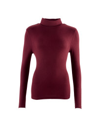 Ladies' Ribbed Neck Polo - Burgundy
