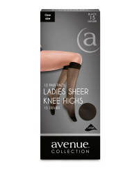 Ladies' Sheer Knee-Highs 10-Pack - Black