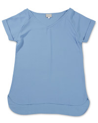 Ladies' Short Sleeve V-Neck Top - Blue