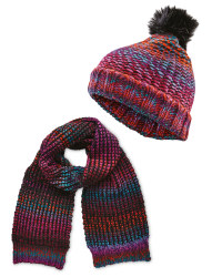 Ladies' Space Dye Hat And Scarf