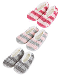 Ladies' Striped Knitted Slipper Sock