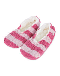 Ladies' Striped Knitted Slipper Sock - Pink